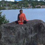 Rock on flower Lake - Mary in Saranac